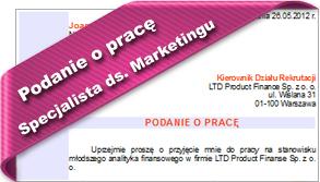 Podanie o pracę Specjalista ds. Marketingu