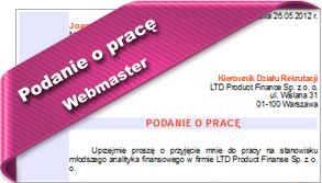 Wzór podania o pracę Webmaster