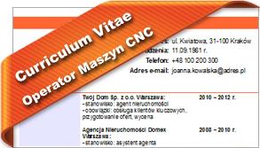 CV Operator Maszyn CNC