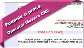 Podanie o pracę Operator Maszyn CNC