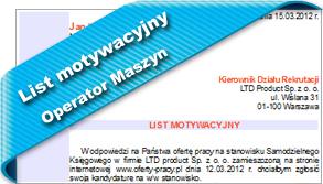 Wzór listu motywacyjnego Operator Maszyn