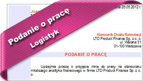 Podanie o pracę Logistyk