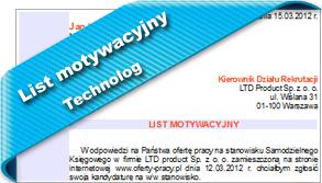 List motywacyjny Technolog