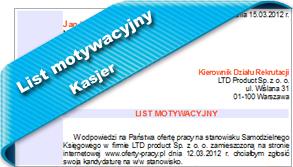 List motywacyjny Kasjer
