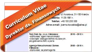 CV Dyrektor ds. Finansowych