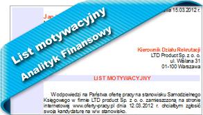 Wzór listu motywacyjnego Analityk Finansowy